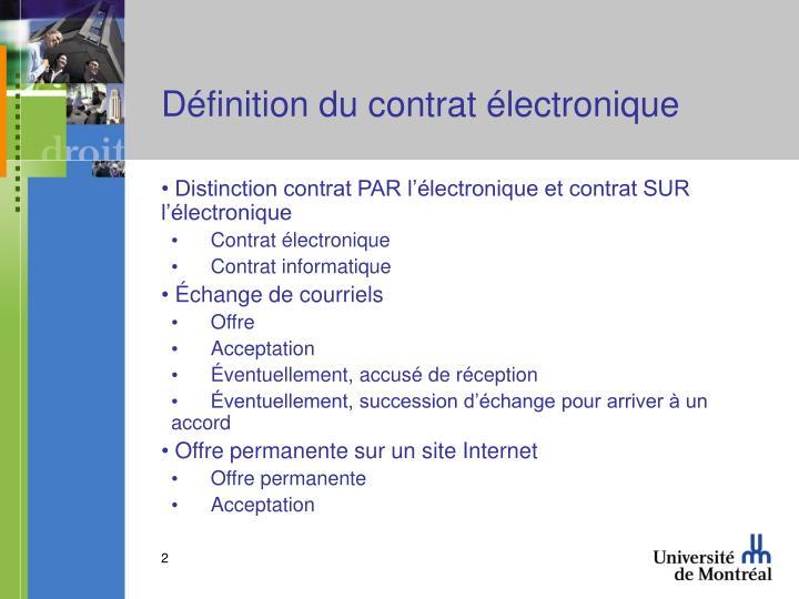 Définition du contrat électronique