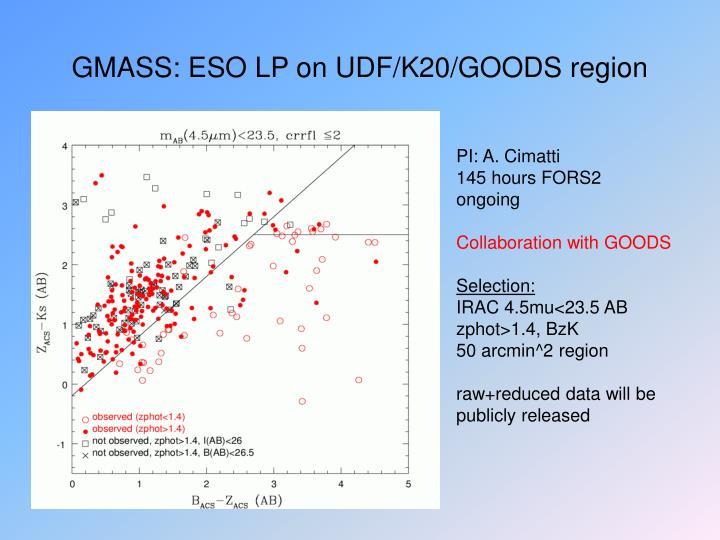 GMASS: ESO LP on UDF/K20/GOODS region
