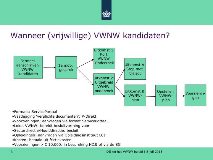 Wanneer (vrijwillige) VWNW kandidaten?