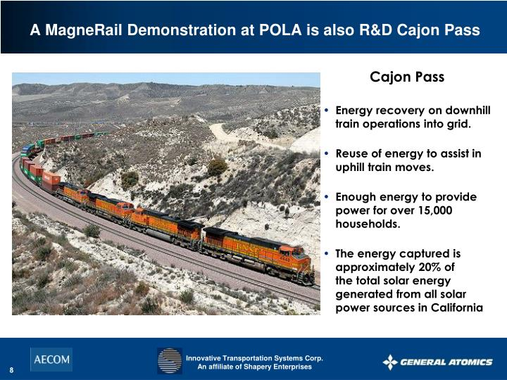 Energy recovery on downhill train operations into grid.