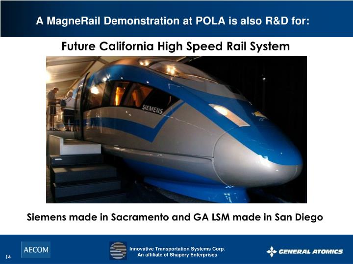 A MagneRail Demonstration at POLA is also R&D for: