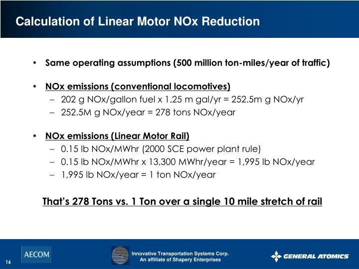 Calculation of Linear Motor NOx Reduction
