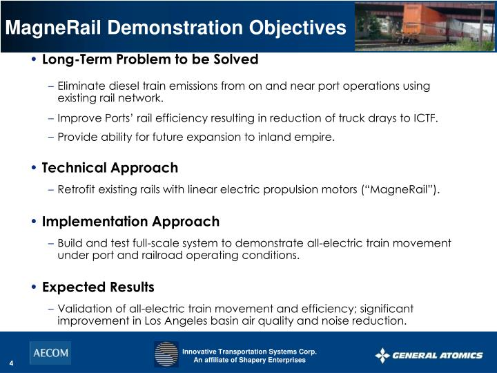 MagneRail Demonstration Objectives