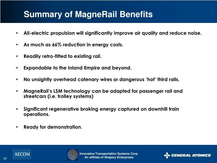 Summary of MagneRail Benefits