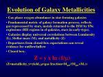 evolution of galaxy metallicities1