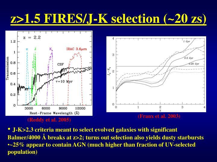 z>1.5 FIRES/J-K selection (~20 zs)