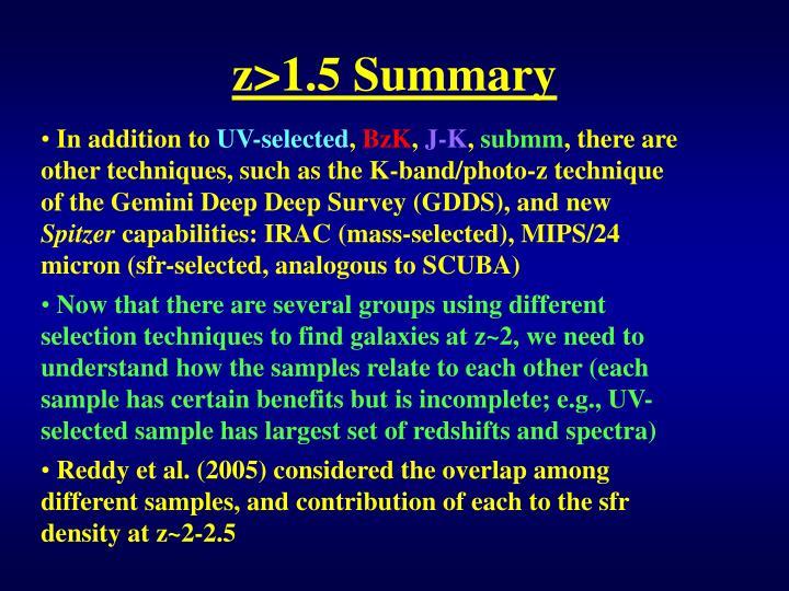 z>1.5 Summary