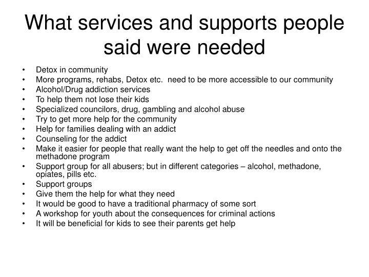 What services and supports people said were needed