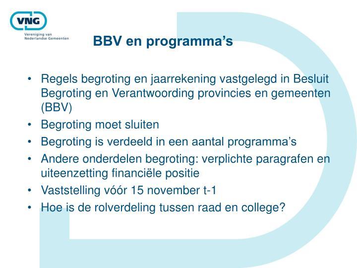 BBV en programma's