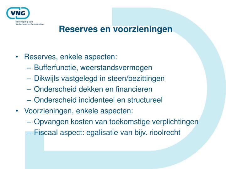 Reserves en voorzieningen