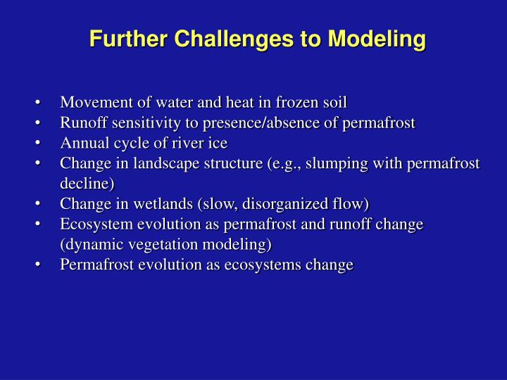 Further Challenges to Modeling
