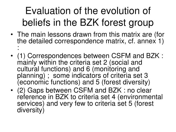 Evaluation of the evolution of beliefs in the BZK forest group