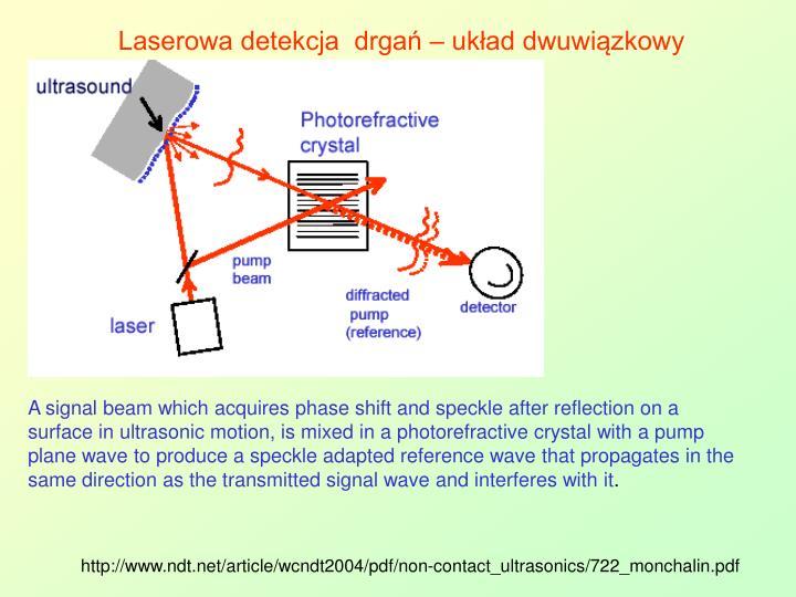 Laserowa detekcja  drgań – układ dwuwiązkowy