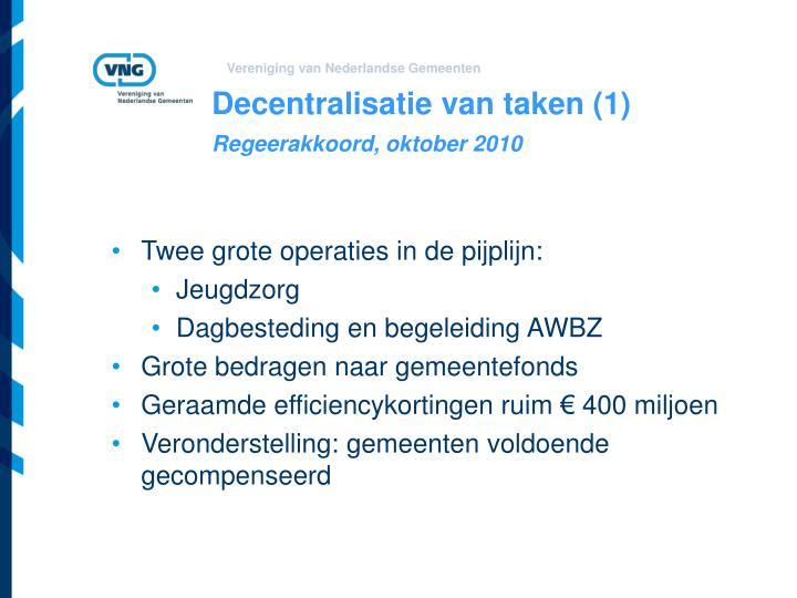 Decentralisatie van taken (1)