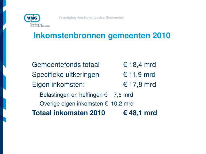 Inkomstenbronnen gemeenten 2010