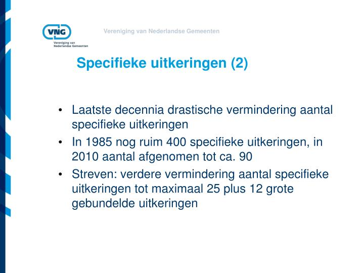 Specifieke uitkeringen (2)