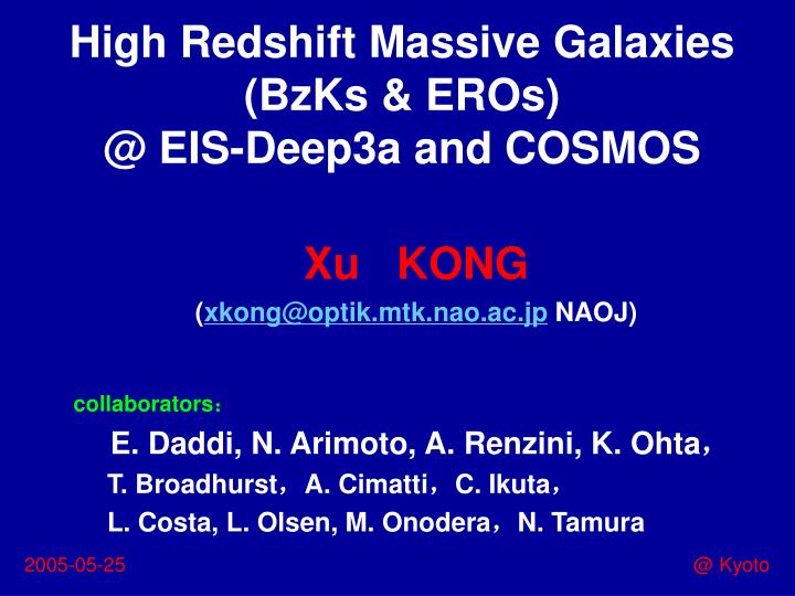 High Redshift Massive Galaxies (BzKs & EROs)