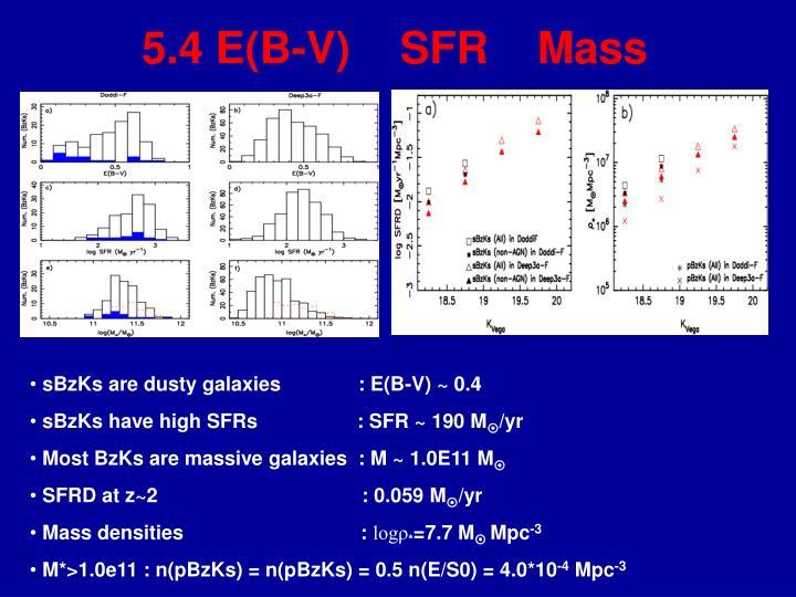 5.4 E(B-V)    SFR    Mass