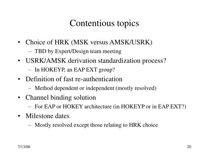 Contentious topics