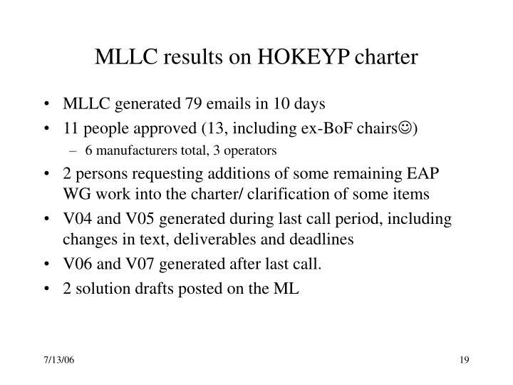 MLLC results on HOKEYP charter