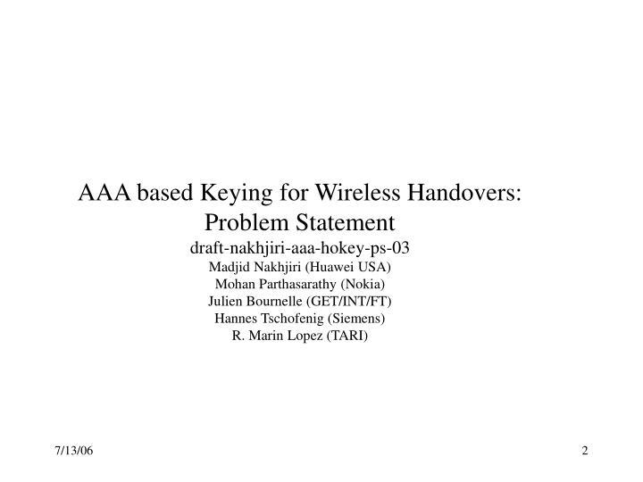 AAA based Keying for Wireless Handovers: