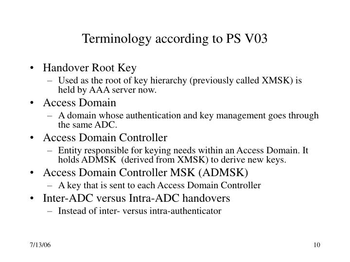 Terminology according to PS V03