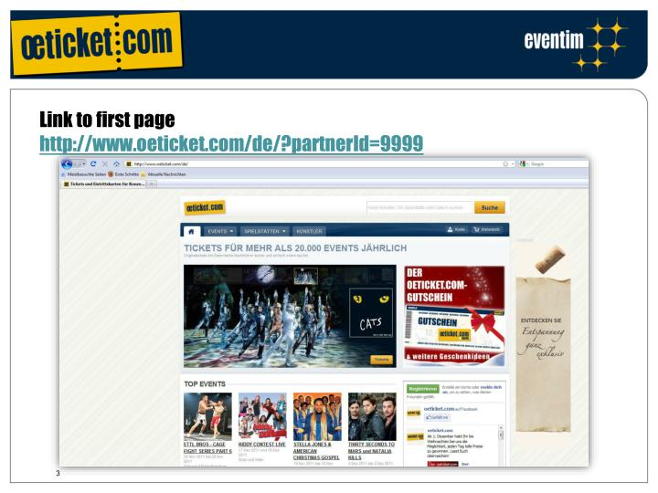 Link to first page http www oeticket com de partnerid 9999