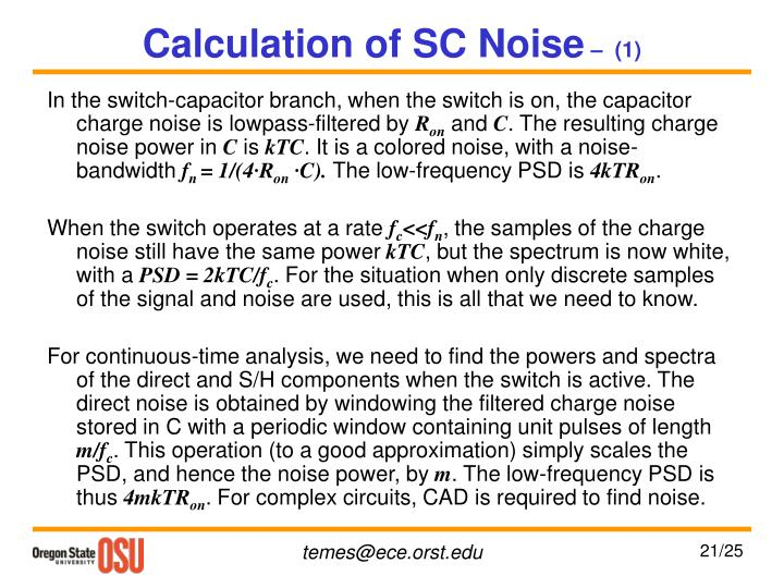 Calculation of SC Noise