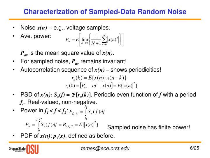 Characterization of Sampled-Data Random Noise