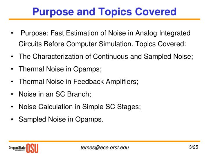 Purpose and Topics Covered