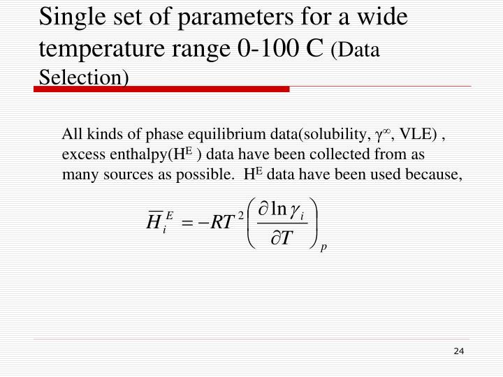 Single set of parameters for a wide temperature range 0-100 C