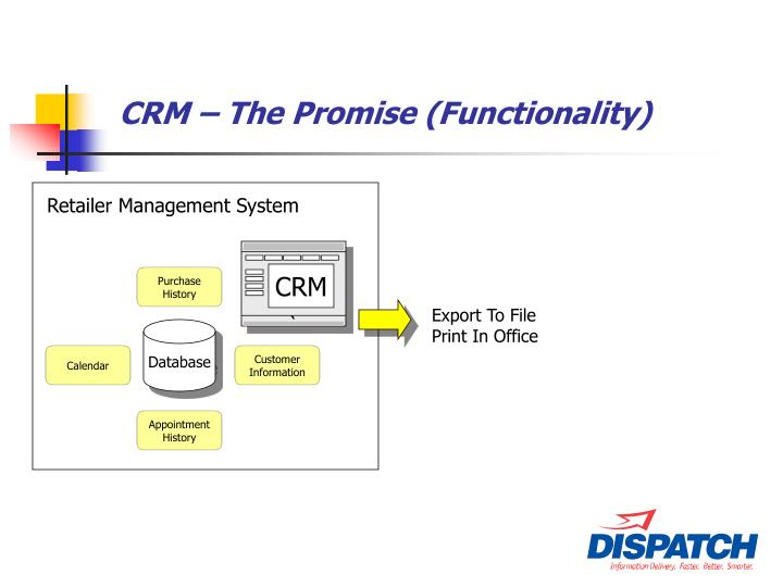 CRM – The Promise (Functionality)