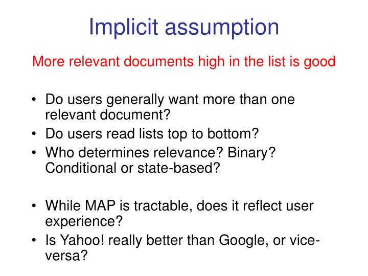 Implicit assumption