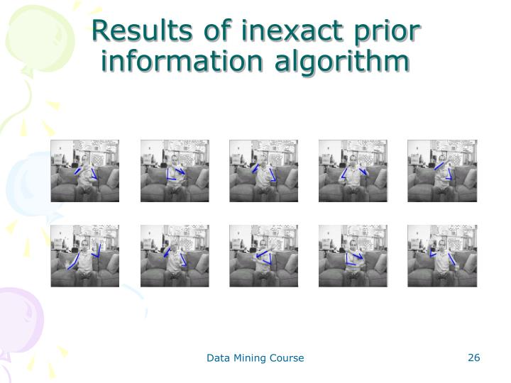 Results of inexact prior information algorithm