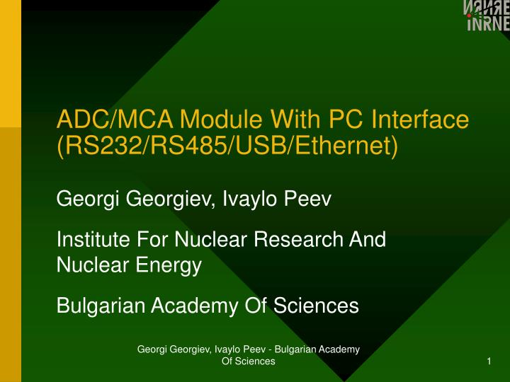 ADC/MCA Module With PC Interface