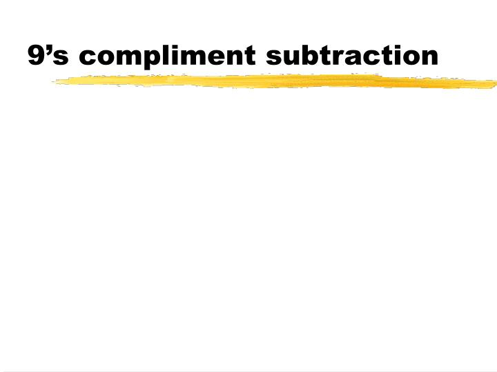 9's compliment subtraction