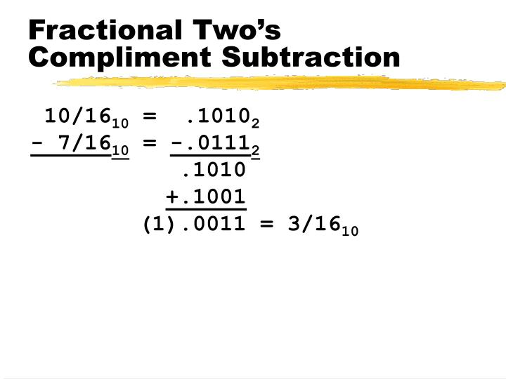 Fractional Two's Compliment Subtraction
