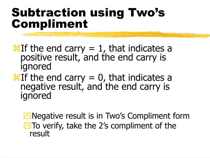 Subtraction using Two's Compliment