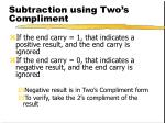 subtraction using two s compliment