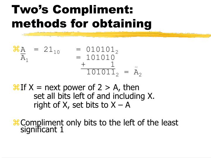 Two's Compliment: methods for obtaining