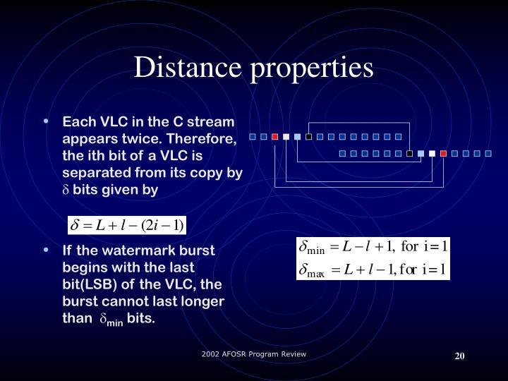Distance properties