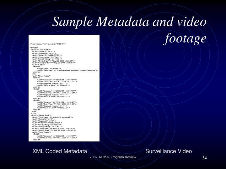 Sample Metadata and video footage