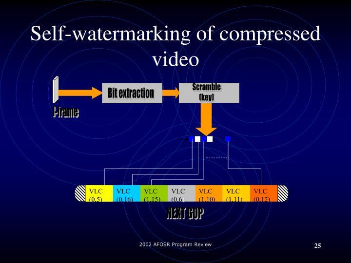 Self-watermarking of compressed video