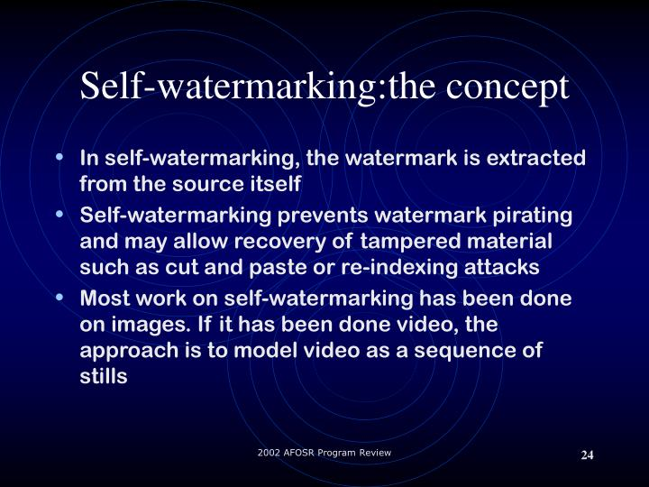 Self-watermarking:the concept