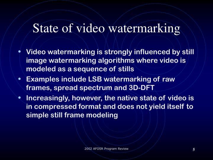 State of video watermarking