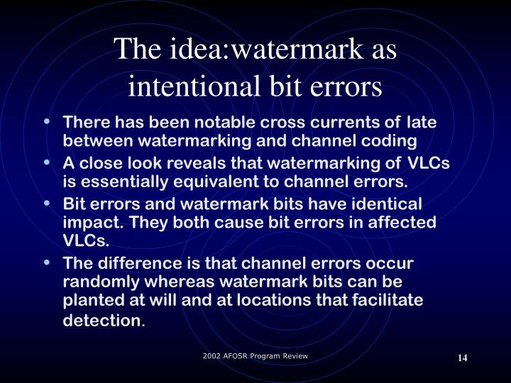 The idea:watermark as intentional bit errors