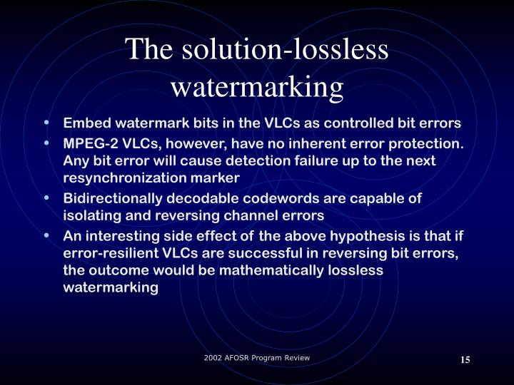 The solution-lossless watermarking