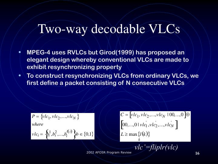 Two-way decodable VLCs