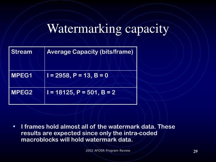 Watermarking capacity