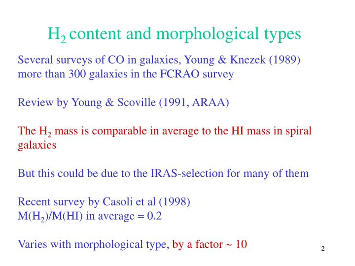 H 2 content and morphological types